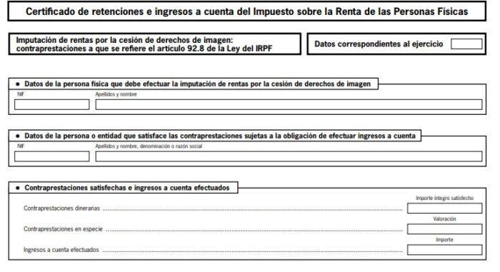 Certificado de retenciones e ingresos de IRPF