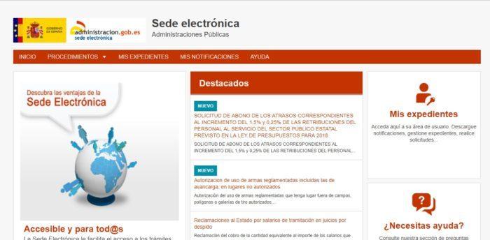 Sede Electrónica de la Administración Pública