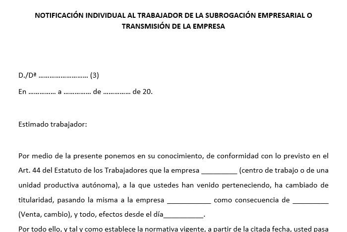 carta de subrogación